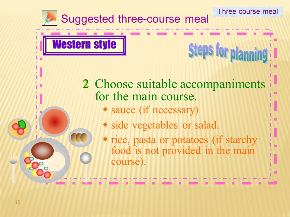 Steps for planning Choose suitable accompaniments for the main course.