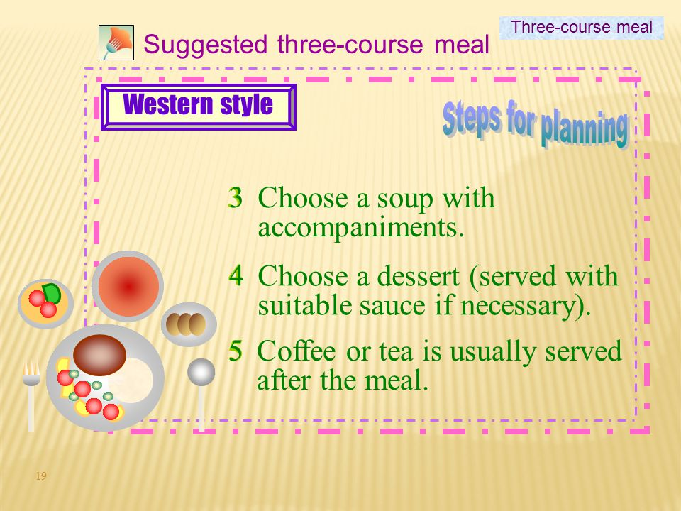 Steps for planning 3 Choose a soup with accompaniments. 4
