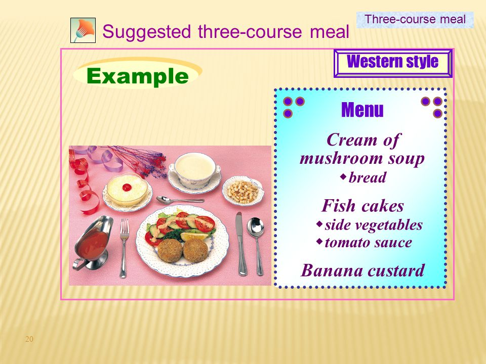 Example Suggested three-course meal Menu Cream of mushroom soup