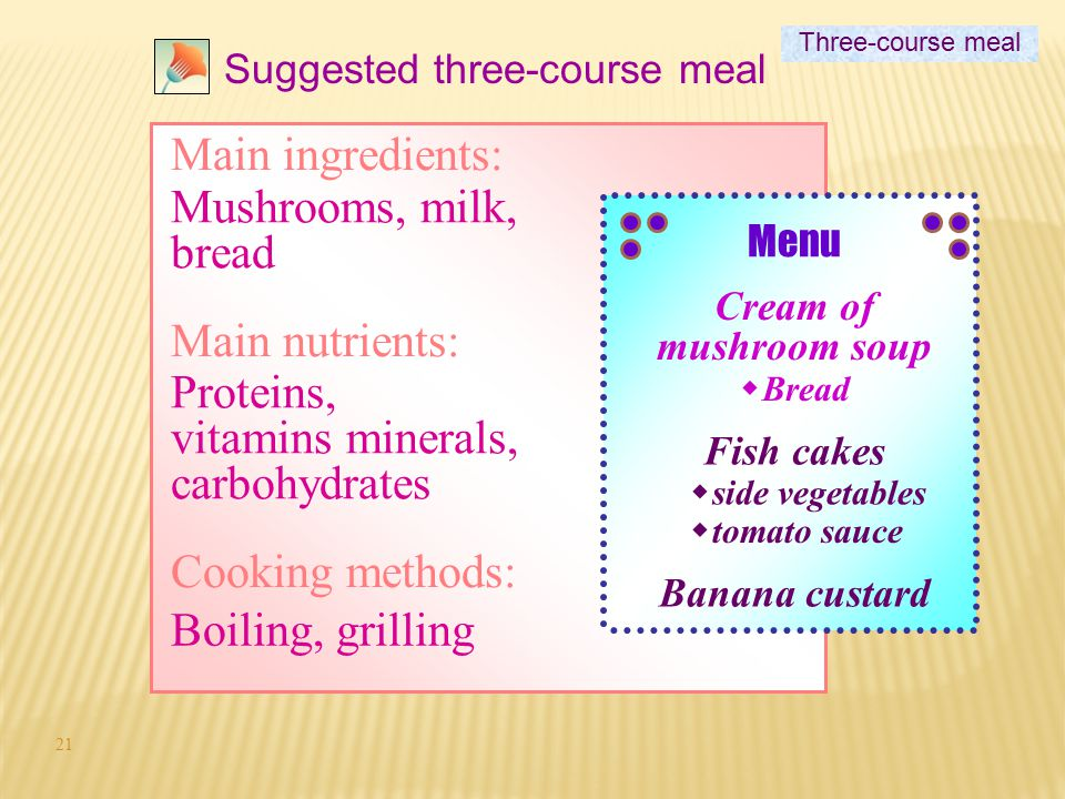 Proteins, vitamins minerals, carbohydrates