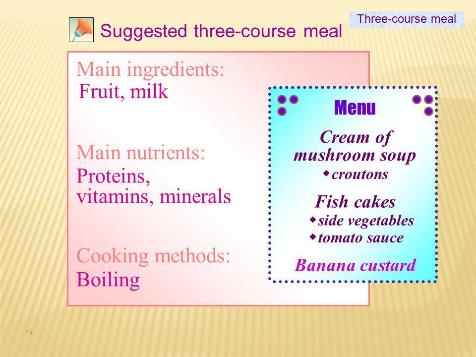 Proteins, vitamins, minerals