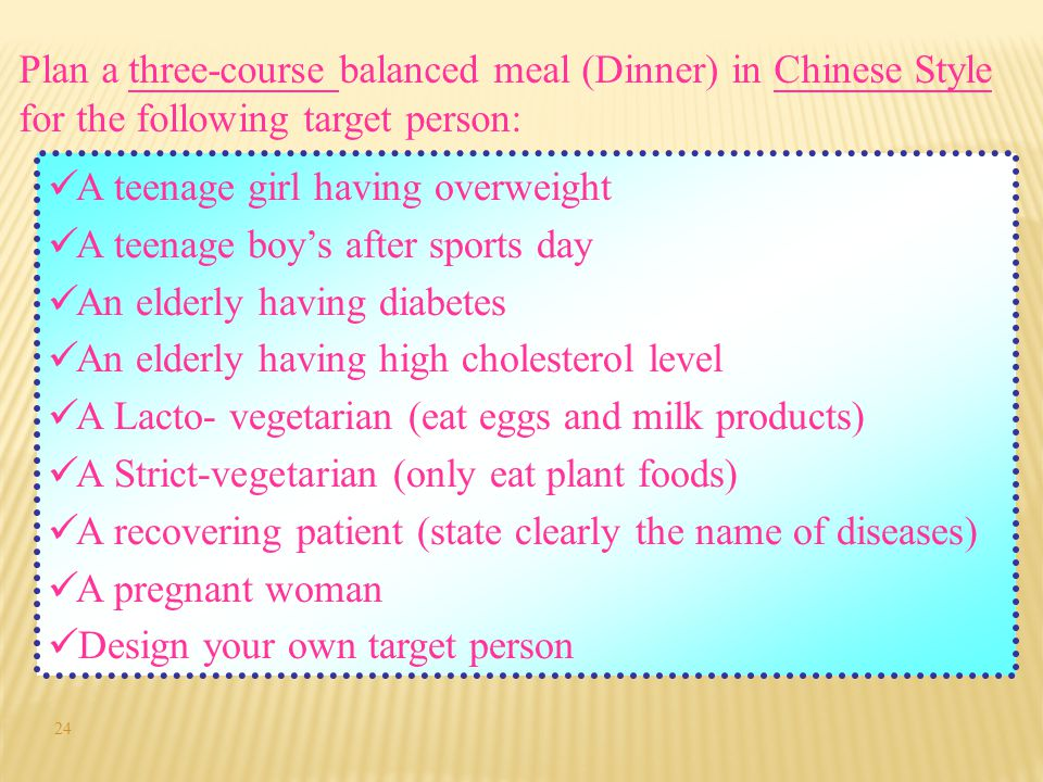Plan a three-course balanced meal (Dinner) in Chinese Style for the following target person: