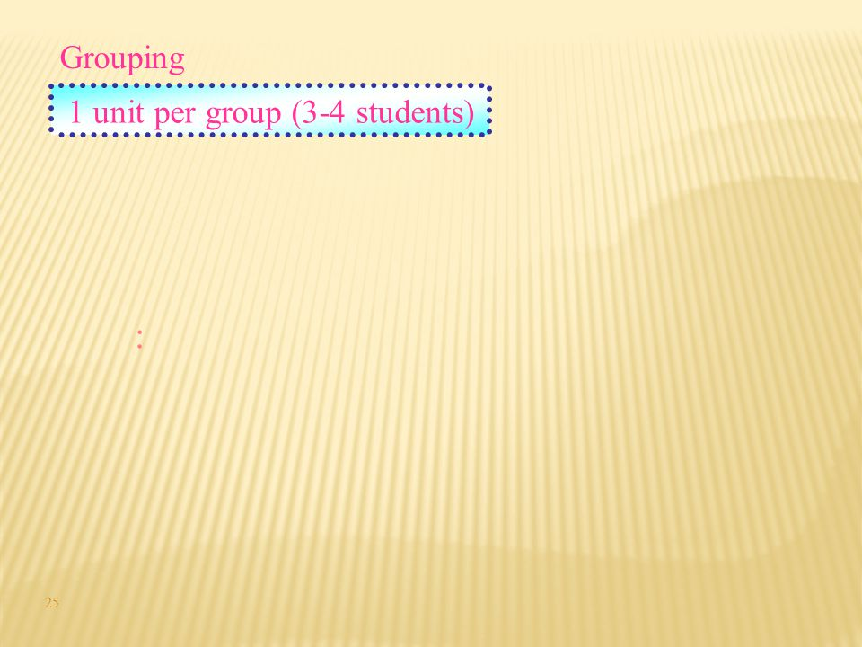 Grouping 1 unit per group (3-4 students) : 25