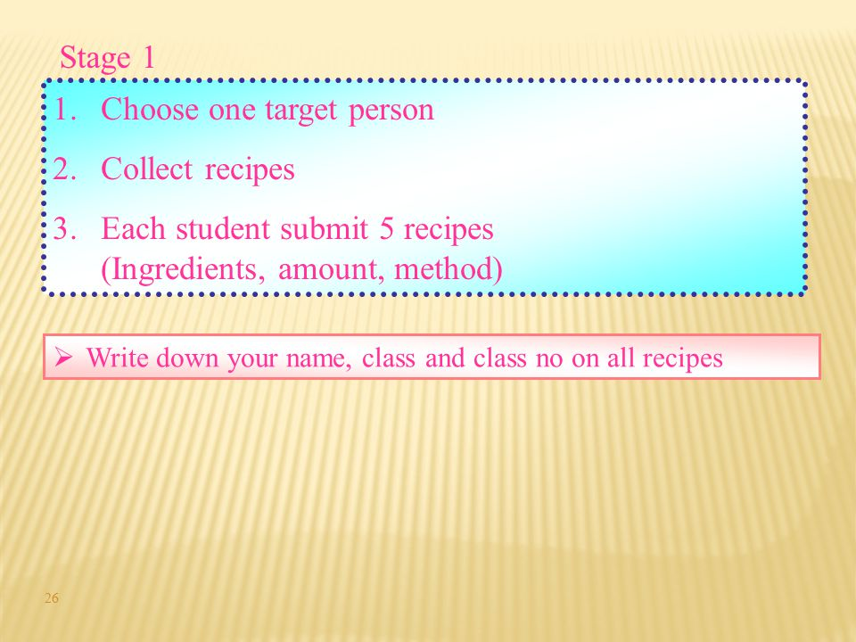 Choose one target person Collect recipes