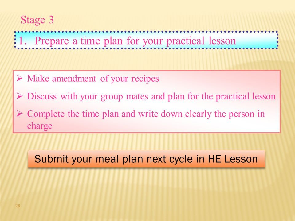 Submit your meal plan next cycle in HE Lesson