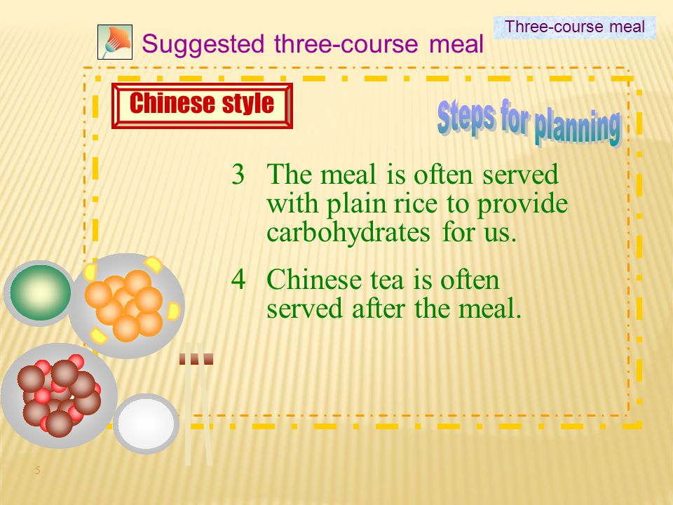 Three-course meal Suggested three-course meal. Chinese style. Steps for planning.