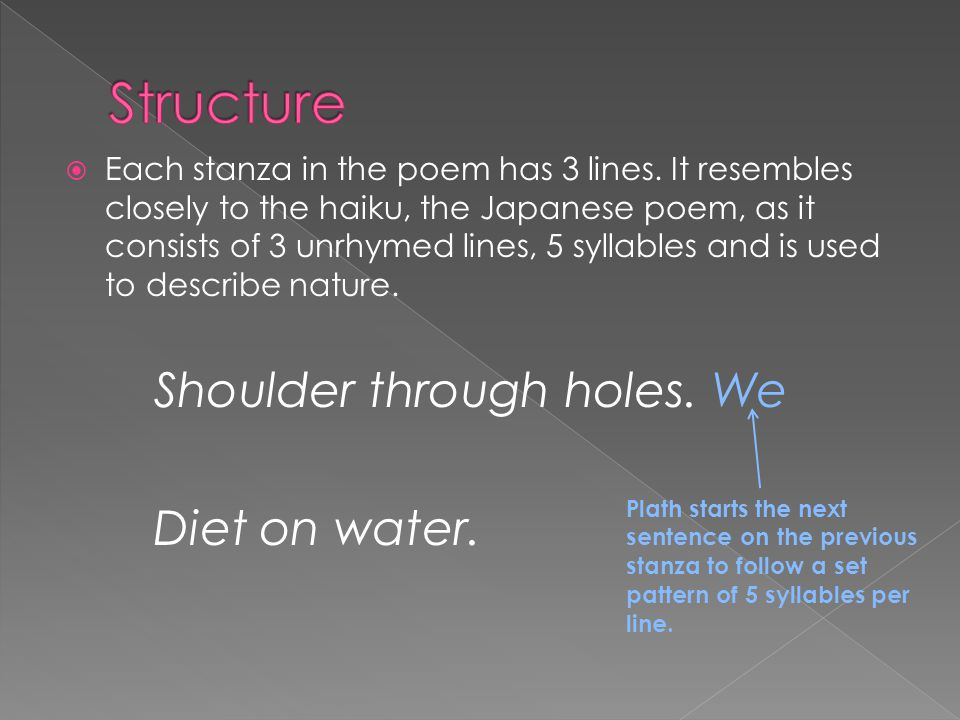 Structure Diet on water. Shoulder through holes. We