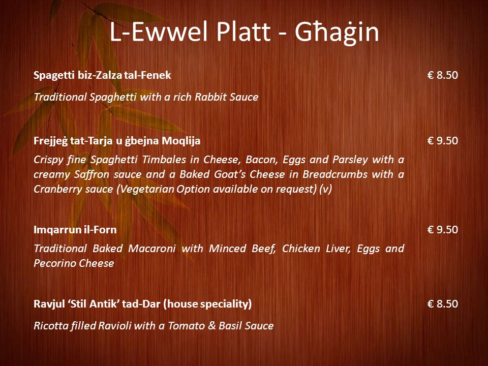 L-Ewwel Platt - Għaġin Spagetti biz-Zalza tal-Fenek € 8.50