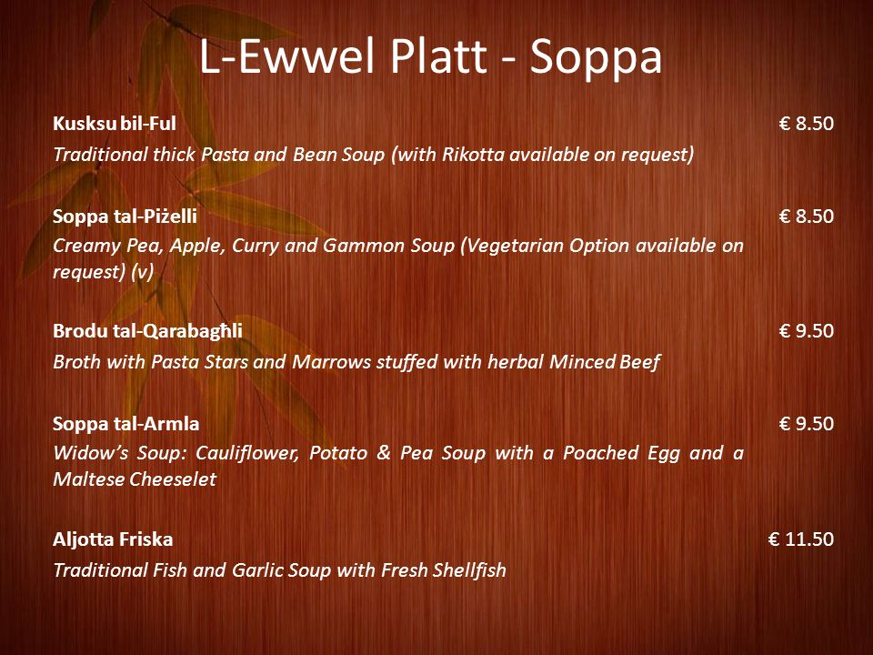 L-Ewwel Platt - Soppa Kusksu bil-Ful € 8.50