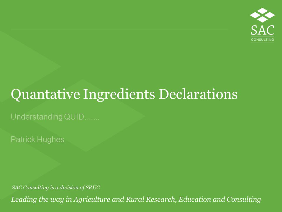 Quantative Ingredients Declarations