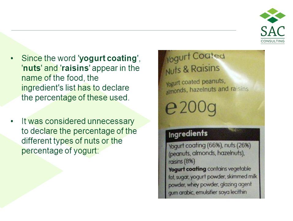 Since the word yogurt coating , nuts and raisins appear in the name of the food, the ingredient s list has to declare the percentage of these used.