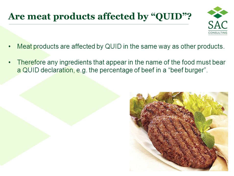 Are meat products affected by QUID