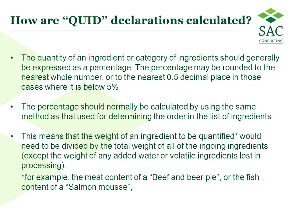 How are QUID declarations calculated
