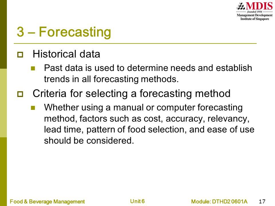 3 – Forecasting Historical data