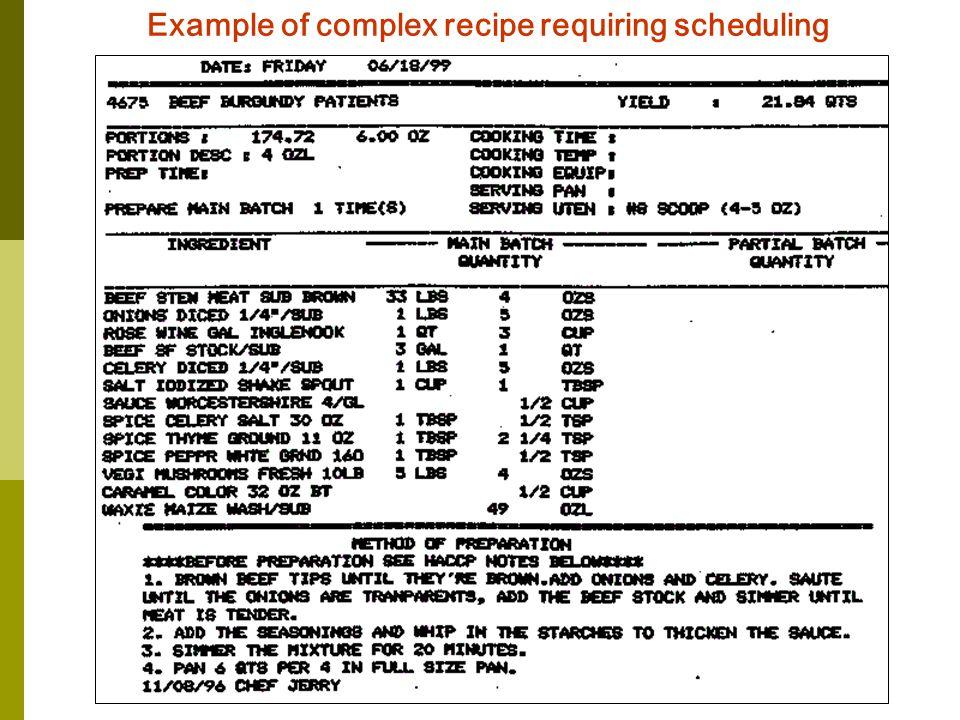 Example of complex recipe requiring scheduling