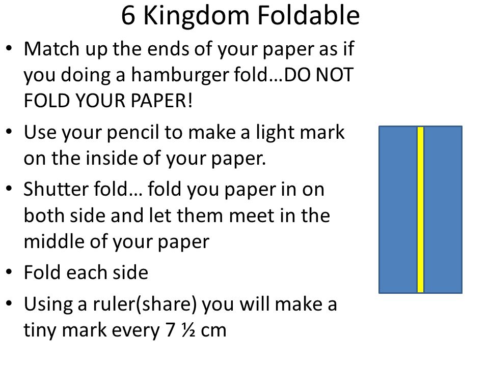 6 Kingdom Foldable Match up the ends of your paper as if you doing a hamburger fold…DO NOT FOLD YOUR PAPER!