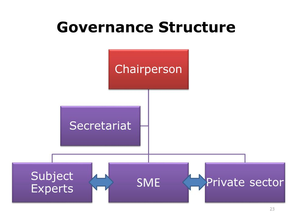 Governance Structure SME Chairperson Secretariat Subject Experts