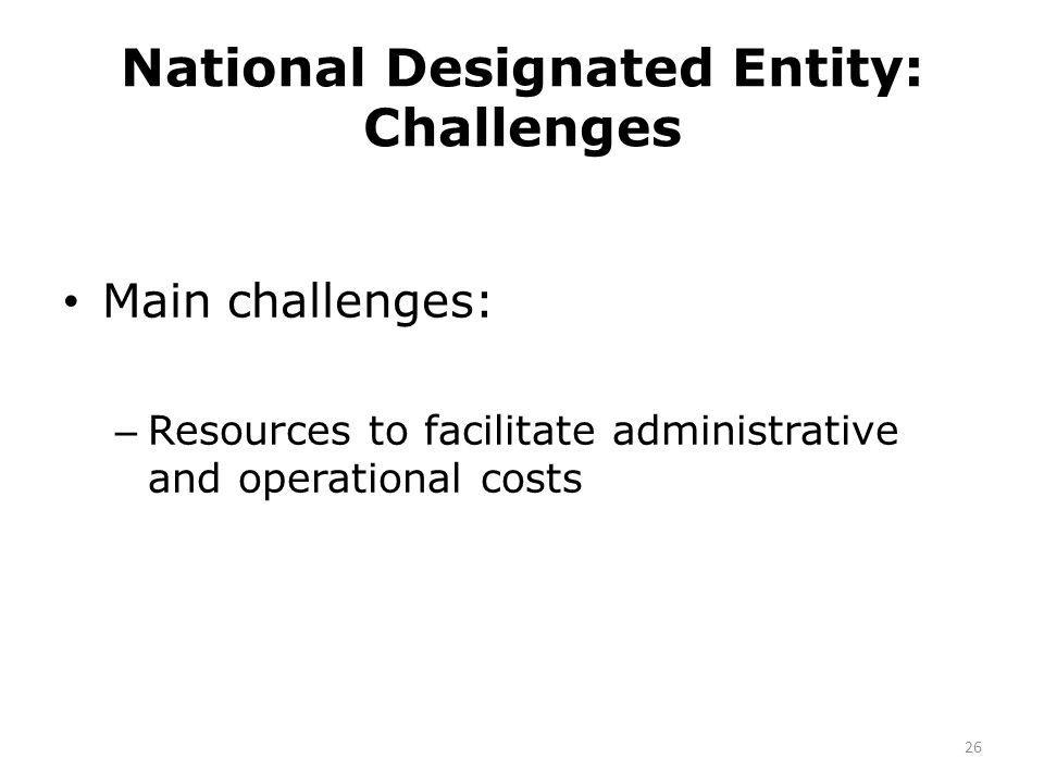 National Designated Entity: Challenges