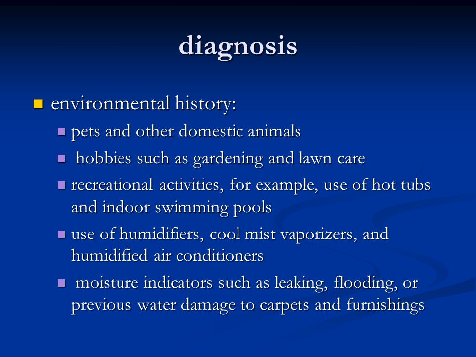 diagnosis environmental history: pets and other domestic animals
