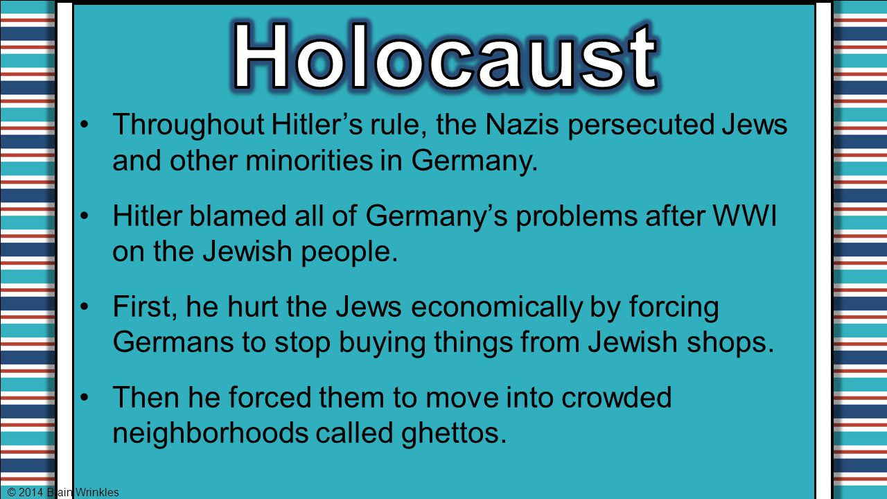 Holocaust Throughout Hitler's rule, the Nazis persecuted Jews and other minorities in Germany.