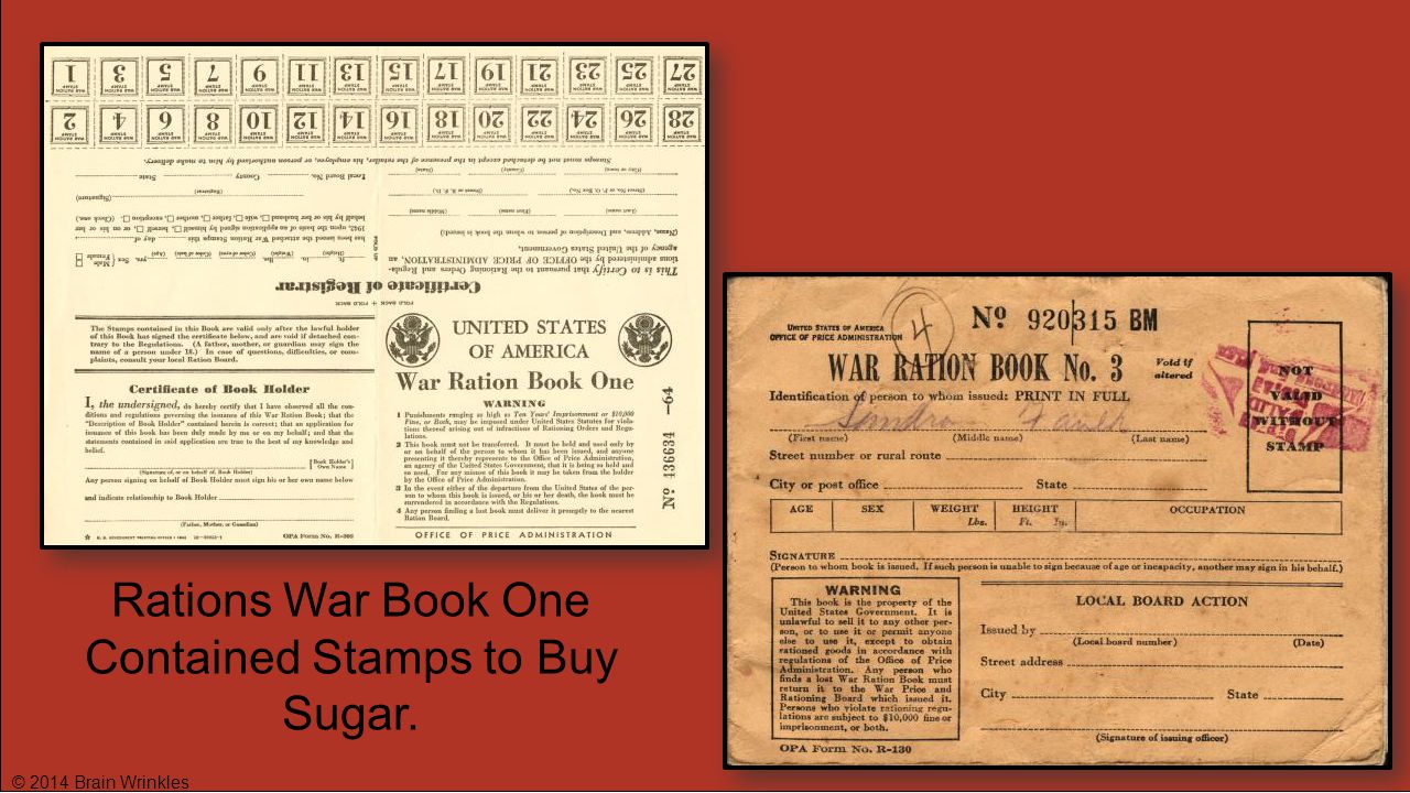 Rations War Book One Contained Stamps to Buy Sugar.