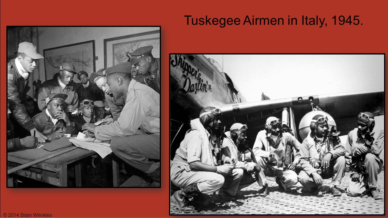 Tuskegee Airmen in Italy, 1945.