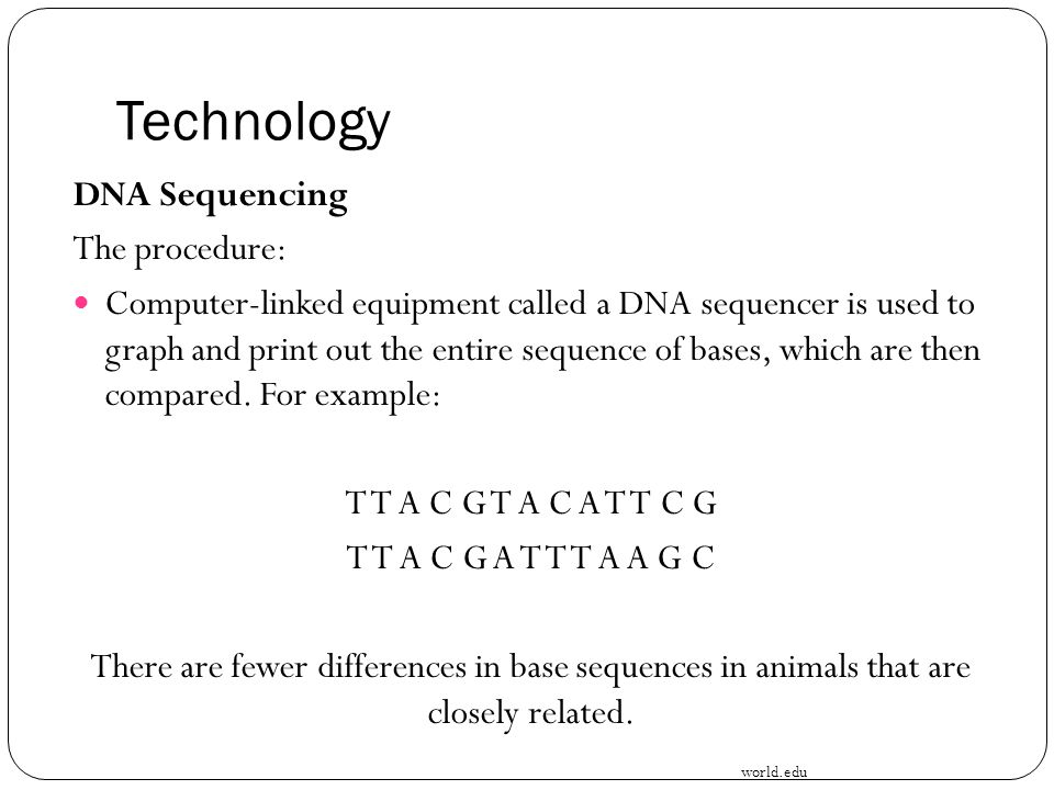 Technology DNA Sequencing The procedure: