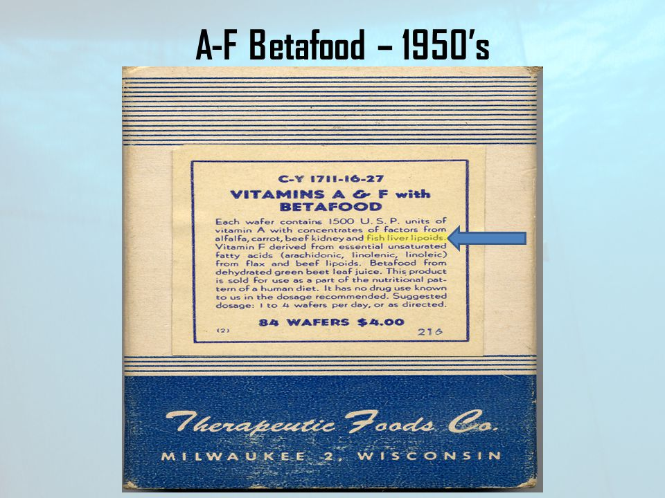 A-F Betafood – 1950's Note on the label of this early box of A&F Betafood you'll see - Fish Liver Lipoids.