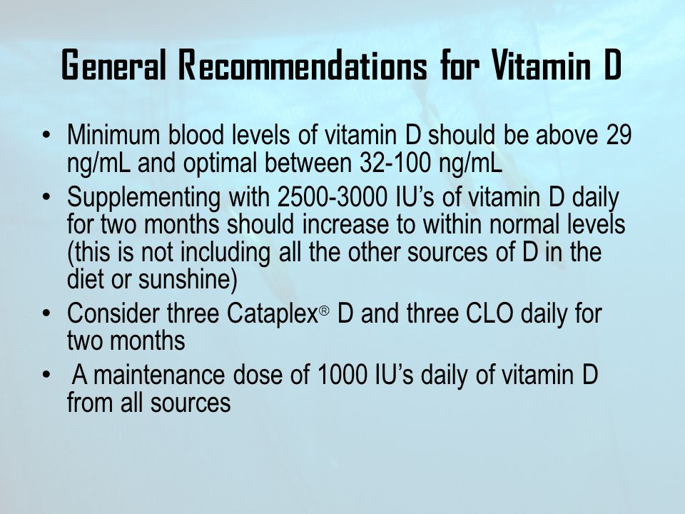 General Recommendations for Vitamin D