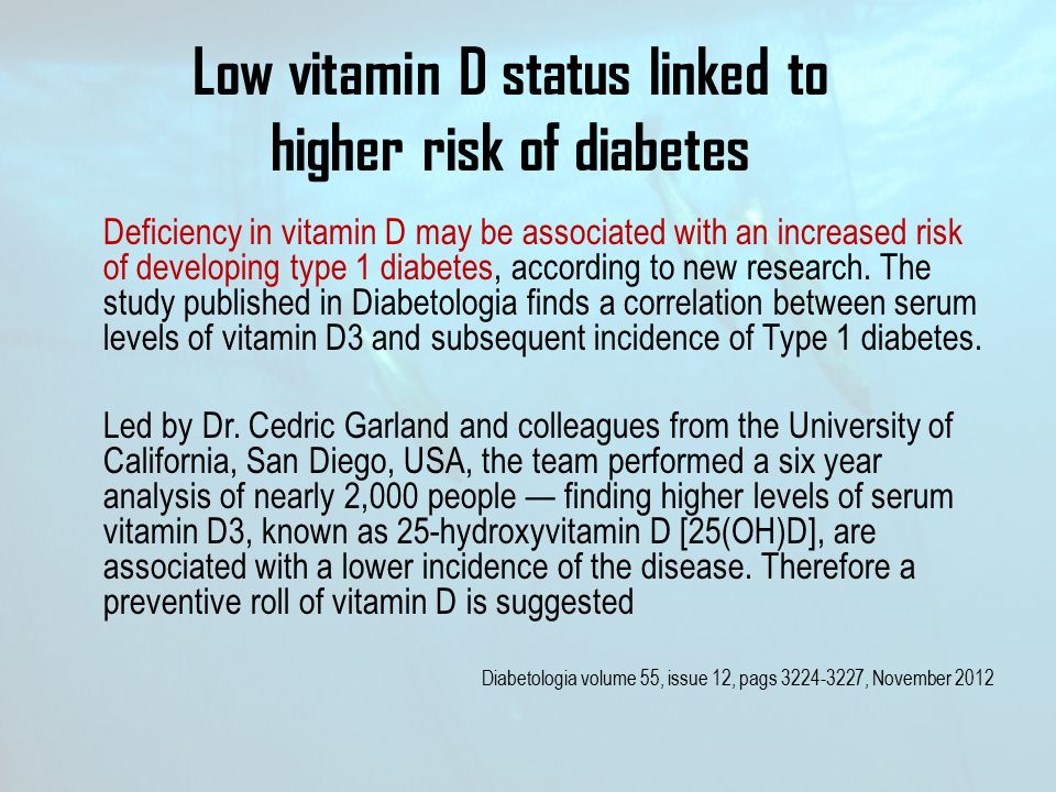 Low vitamin D status linked to higher risk of diabetes