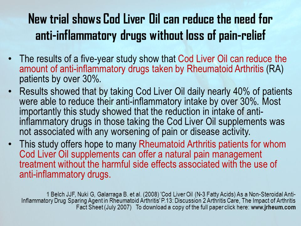New trial shows Cod Liver Oil can reduce the need for anti-inflammatory drugs without loss of pain-relief
