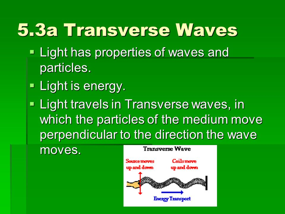 5.3a Transverse Waves Light has properties of waves and particles.