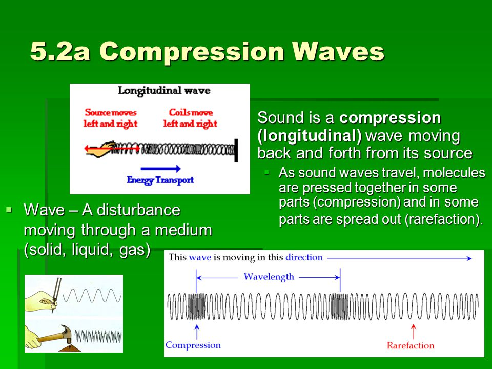 5.2a Compression Waves Sound is a compression (longitudinal) wave moving back and forth from its source.
