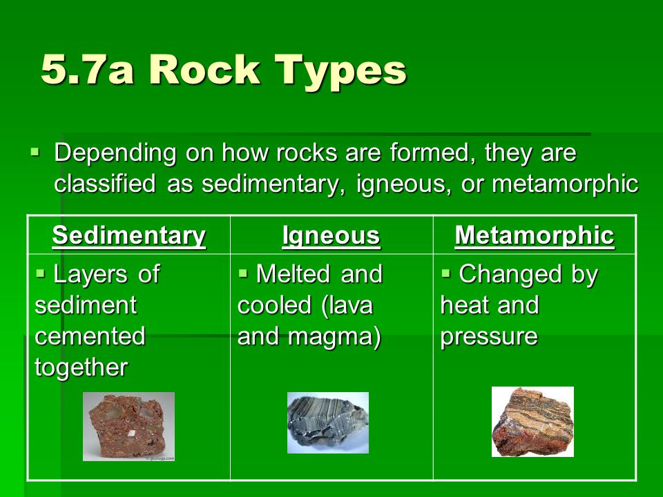 5.7a Rock Types Depending on how rocks are formed, they are classified as sedimentary, igneous, or metamorphic.