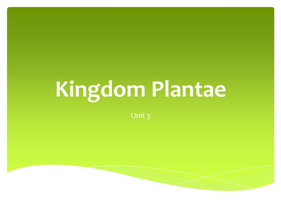 Kingdom Plantae Unit 3