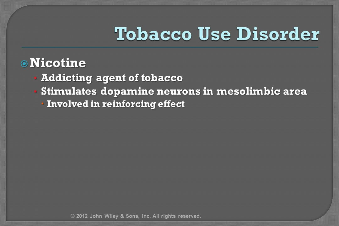 Tobacco Use Disorder Nicotine Addicting agent of tobacco