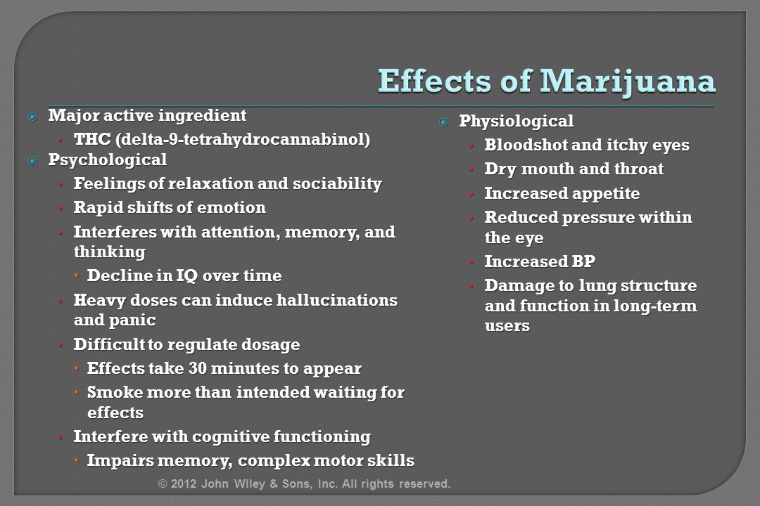 Effects of Marijuana Major active ingredient Physiological