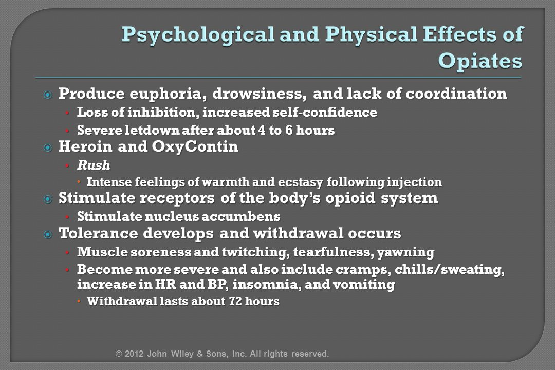 Psychological and Physical Effects of Opiates