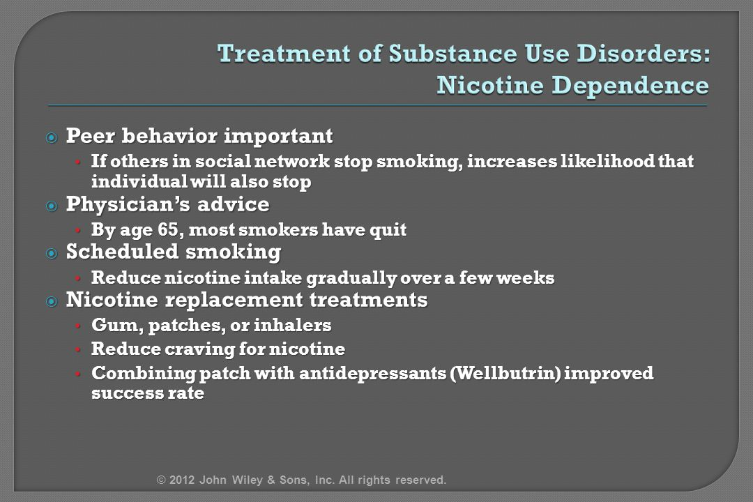 Treatment of Substance Use Disorders: Nicotine Dependence