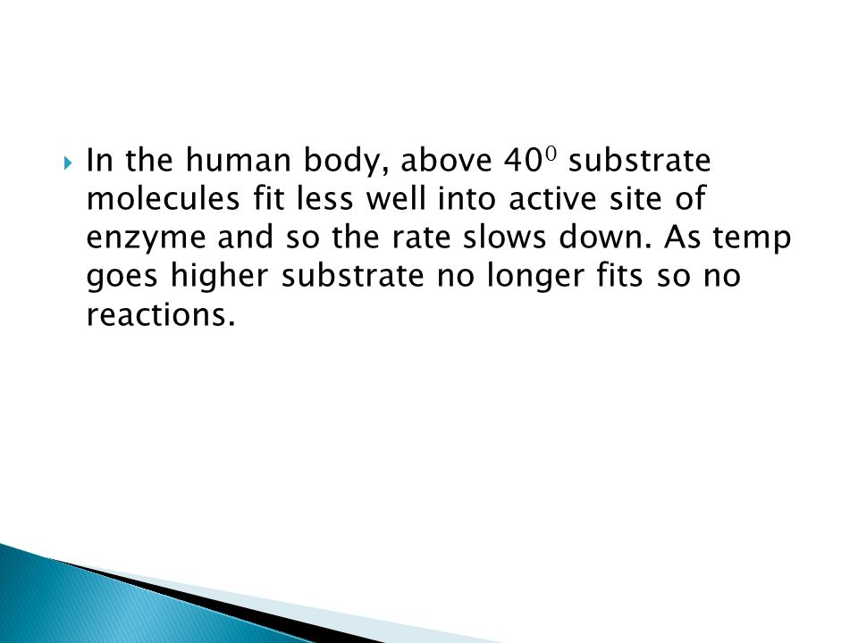 In the human body, above 400 substrate molecules fit less well into active site of enzyme and so the rate slows down.