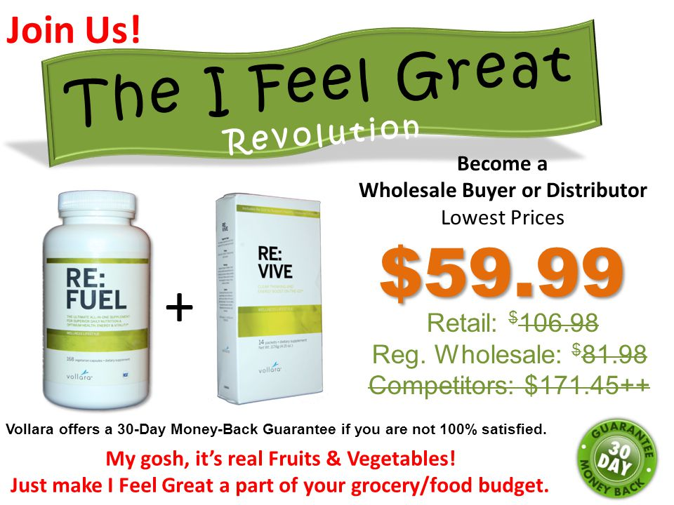 $59.99 + The I Feel Great Revolution Join Us! Retail: $106.98