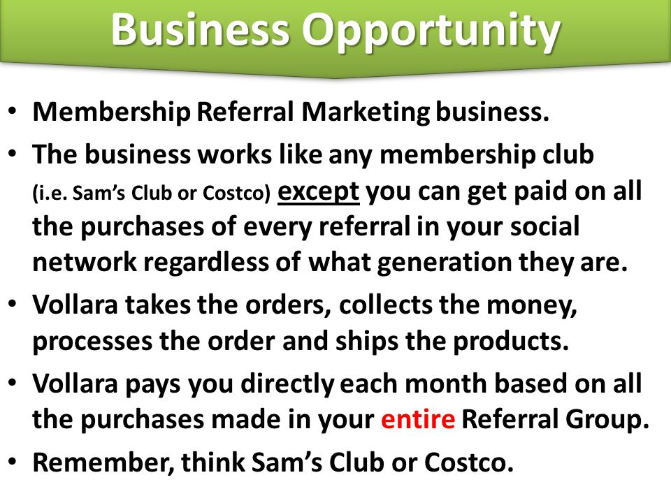 Business Opportunity Membership Referral Marketing business.