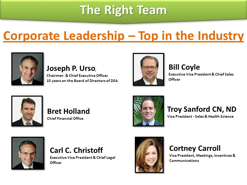 Corporate Leadership – Top in the Industry