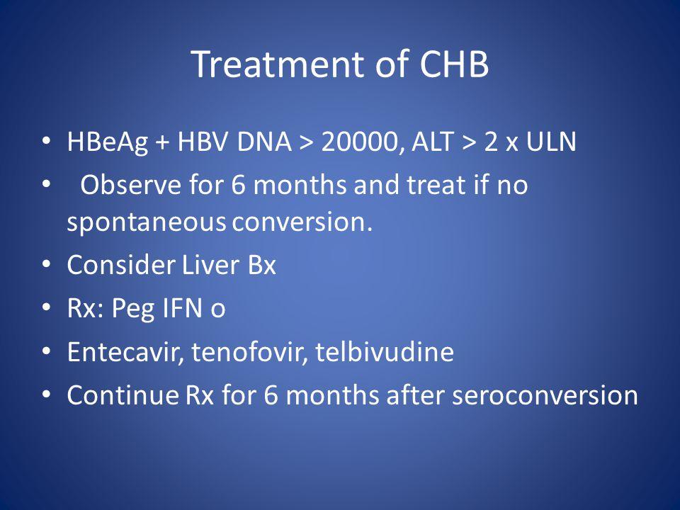 Treatment of CHB HBeAg + HBV DNA > 20000, ALT > 2 x ULN