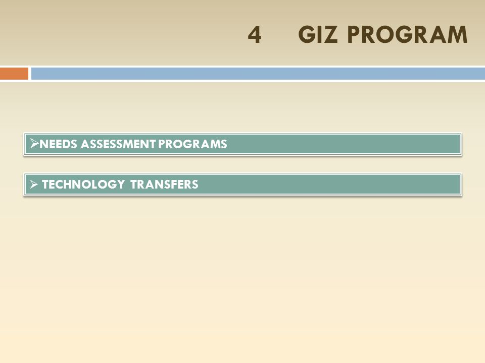 4 GIZ PROGRAM NEEDS ASSESSMENT PROGRAMS TECHNOLOGY TRANSFERS