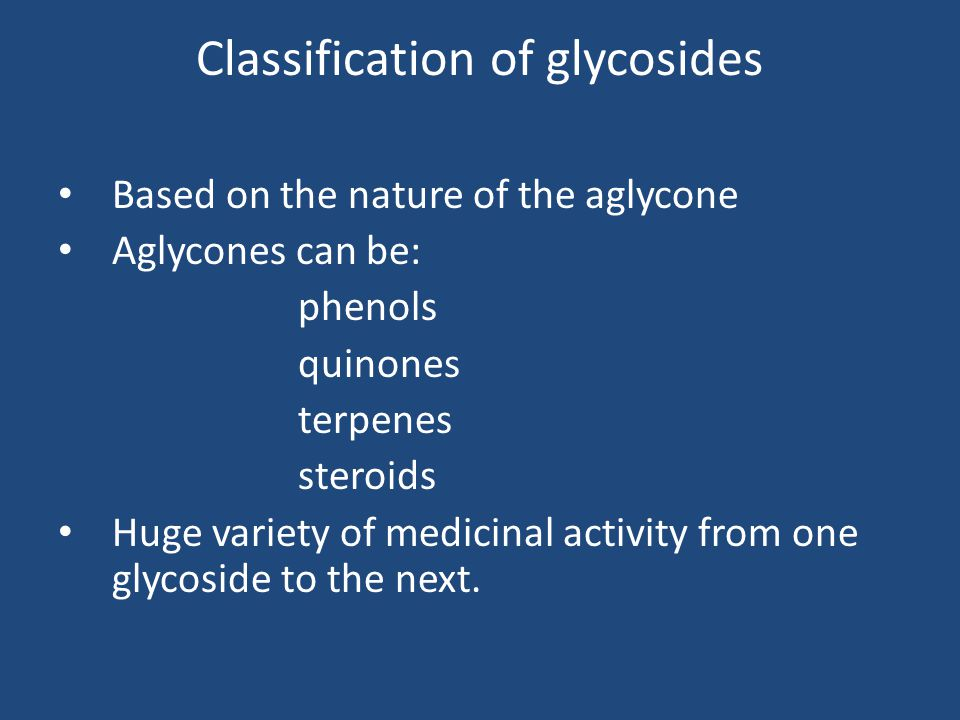 Classification of glycosides