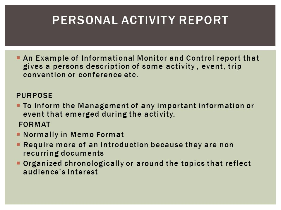 Personal Activity Report