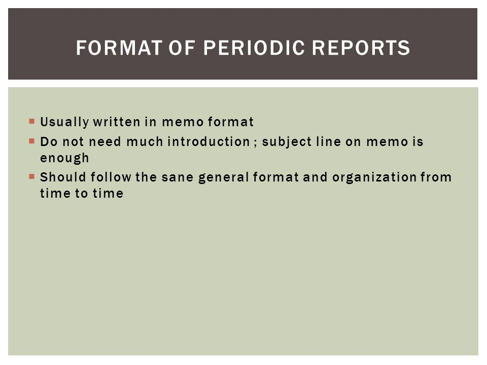Format of Periodic reports