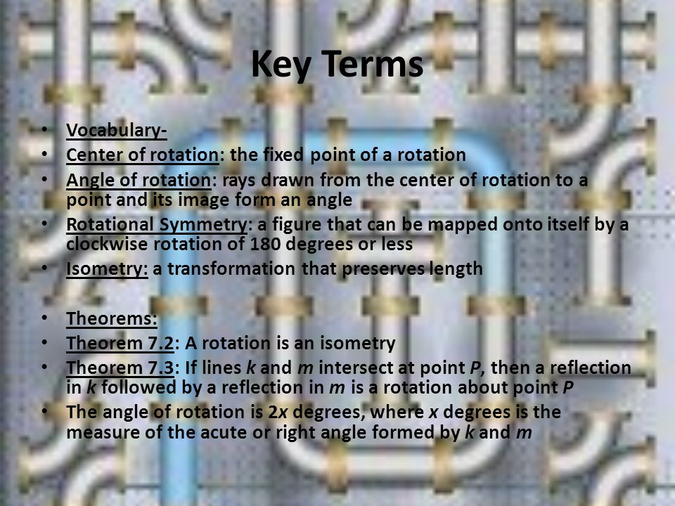 Key Terms Vocabulary- Center of rotation: the fixed point of a rotation.