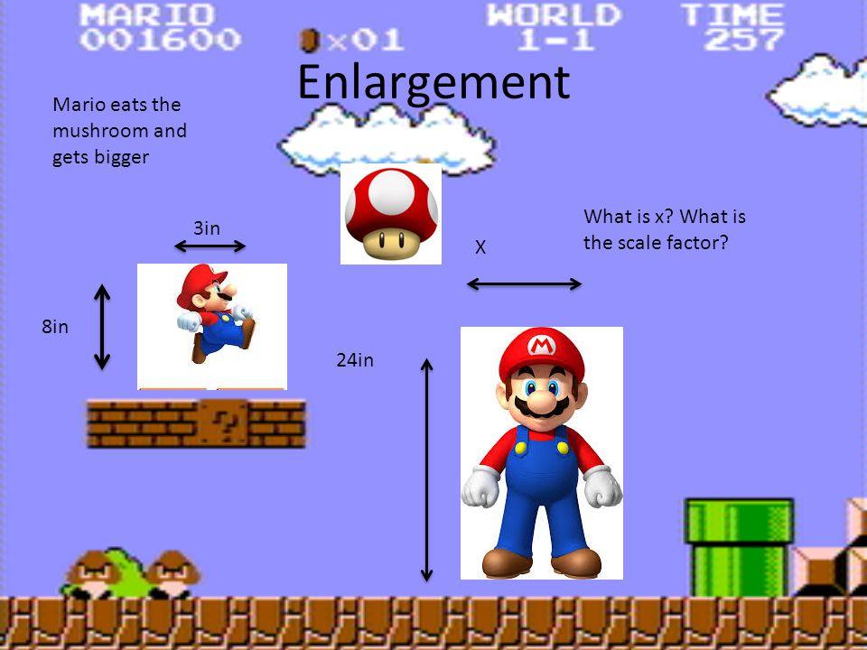 Enlargement Mario eats the mushroom and gets bigger